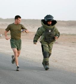 Explosive Ordnance Disposal Marine breaks bomb suit run world record